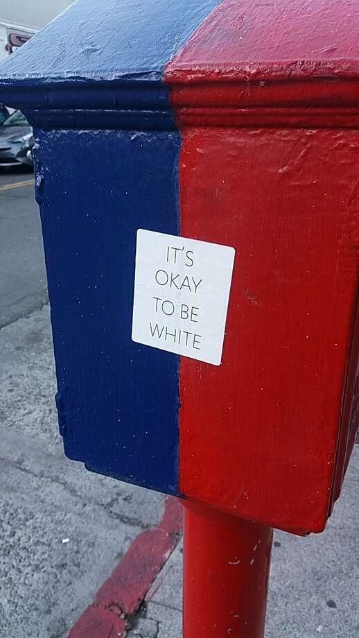 A Hoodline reader found this sticker on a police/fire call box at the corner of Sutter and Polk streets Thursday, November 2, 2017. Photo: Ceclia A./Hoodline Tipline