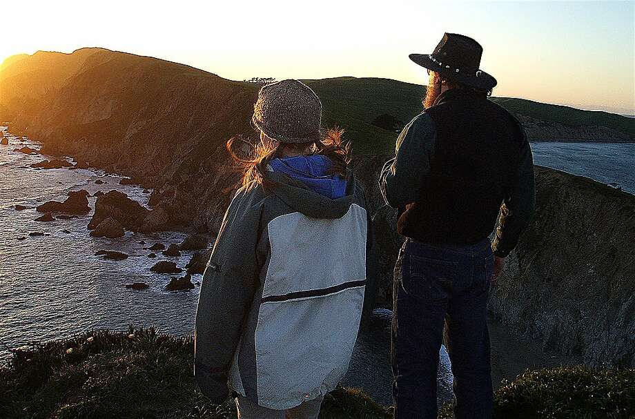 Chronicle outdoors writer, on right, led a group hike to take in views and sunset at Chimney Rock Headlands at Point Reyes National Seashore Photo: Tom Stienstra, Chris Turner / Special To The Chronicle