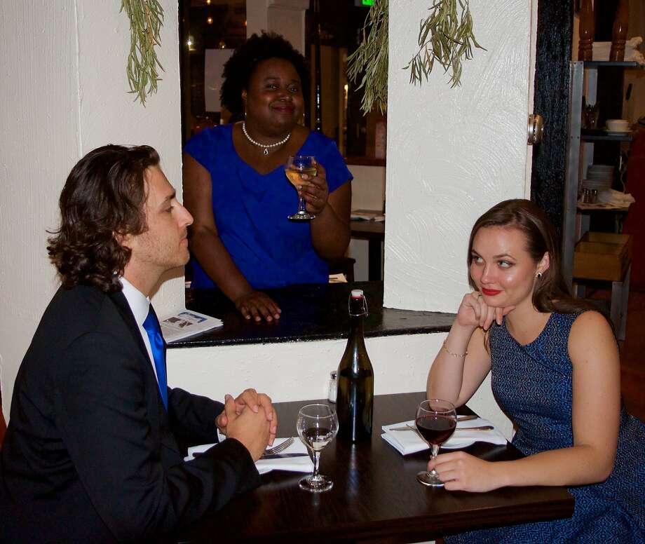 Singers Sergey Khalikulov (left), Aisha Campbell and Jordan Amann. Photo: Emily Thebaut