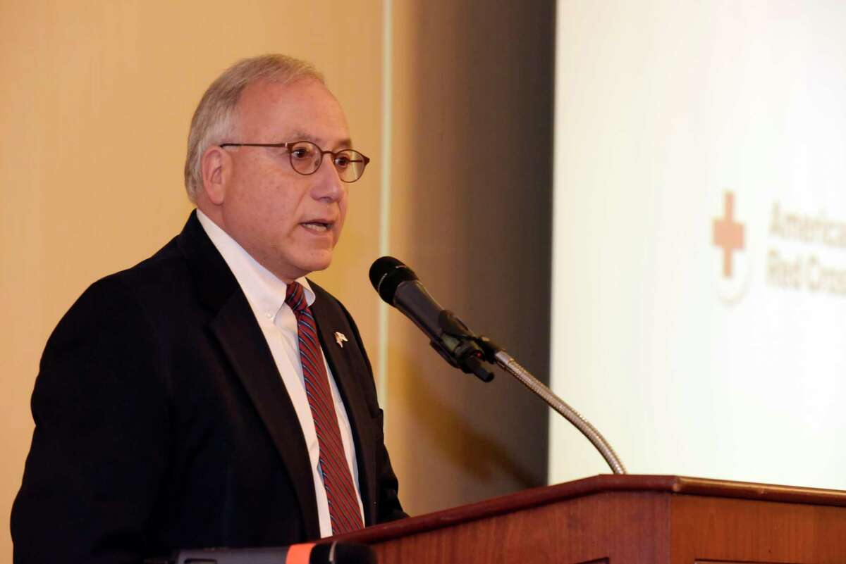 Red Cross of Northeastern New York CEO Gary Striar addresses those gathered for the group's Real Heroes Breakfast on Thursday, Nov. 2, 2017, in Troy, N.Y. (Paul Buckowski / Times Union)