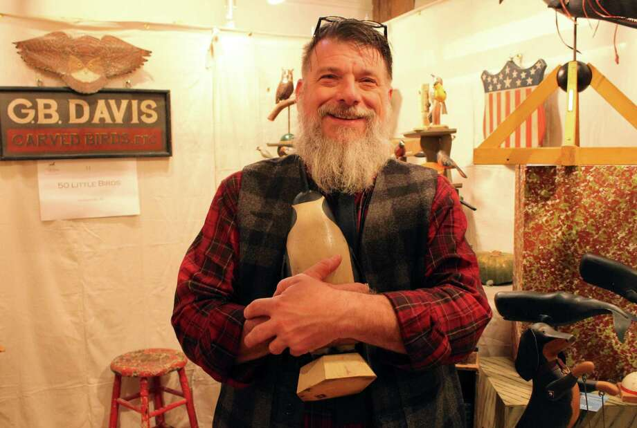 Geoff Davis at the 32nd annual American Artisan Show at the Wilton Historical Society, from Nov. 4-5. Photo: Stephanie Kim / Hearst Connecticut Media