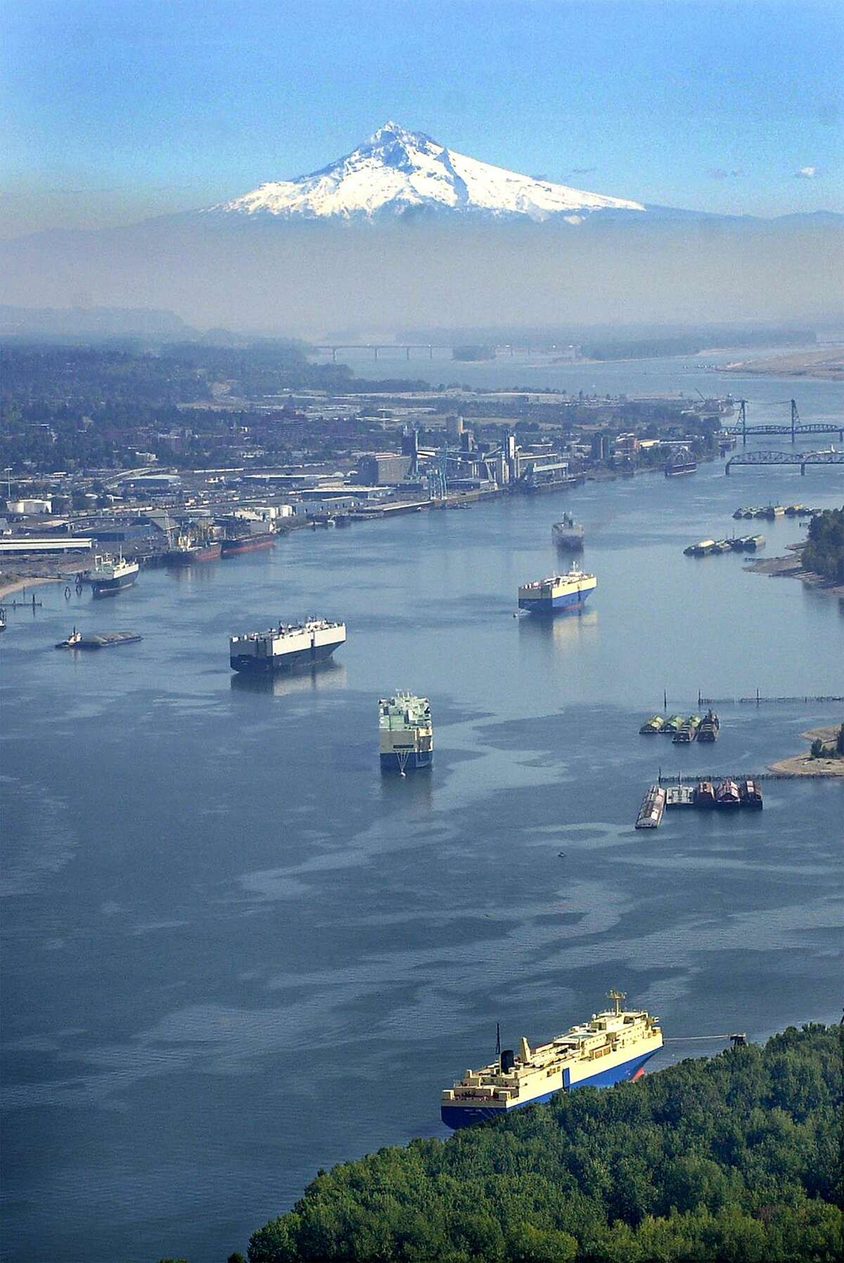 Ships wait in the Columbia River beside the Port of Vancouver. Andeavor and partner Savage Cos. want to build a crude-by-rail terminal at the Port of Vancouver, but the project has been met with resistance.