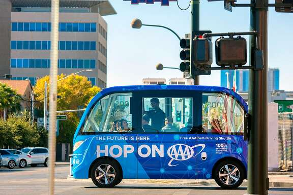 Auto club AAA Northern California, Nevada & Utah is operating a fully self-driving shuttle along a half-mile loop in Las Vegas starting Wednesday. Its goal is to broaden public awareness of the technology and gain insights into how people perceive it. An attendant will be on board and could take control via a joystick, but there is no steering wheel or brake/accelerator pedals.
