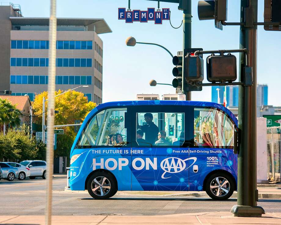 Auto club AAA Northern California, Nevada & Utah is operating a fully self-driving shuttle along a half-mile loop in Las Vegas starting Wednesday. Its goal is to broaden public awareness of the technology and gain insights into how people perceive it. An attendant will be on board and could take control via a joystick, but there is no steering wheel or brake/accelerator pedals. Photo: AAA Northern California, Nevada & Utah