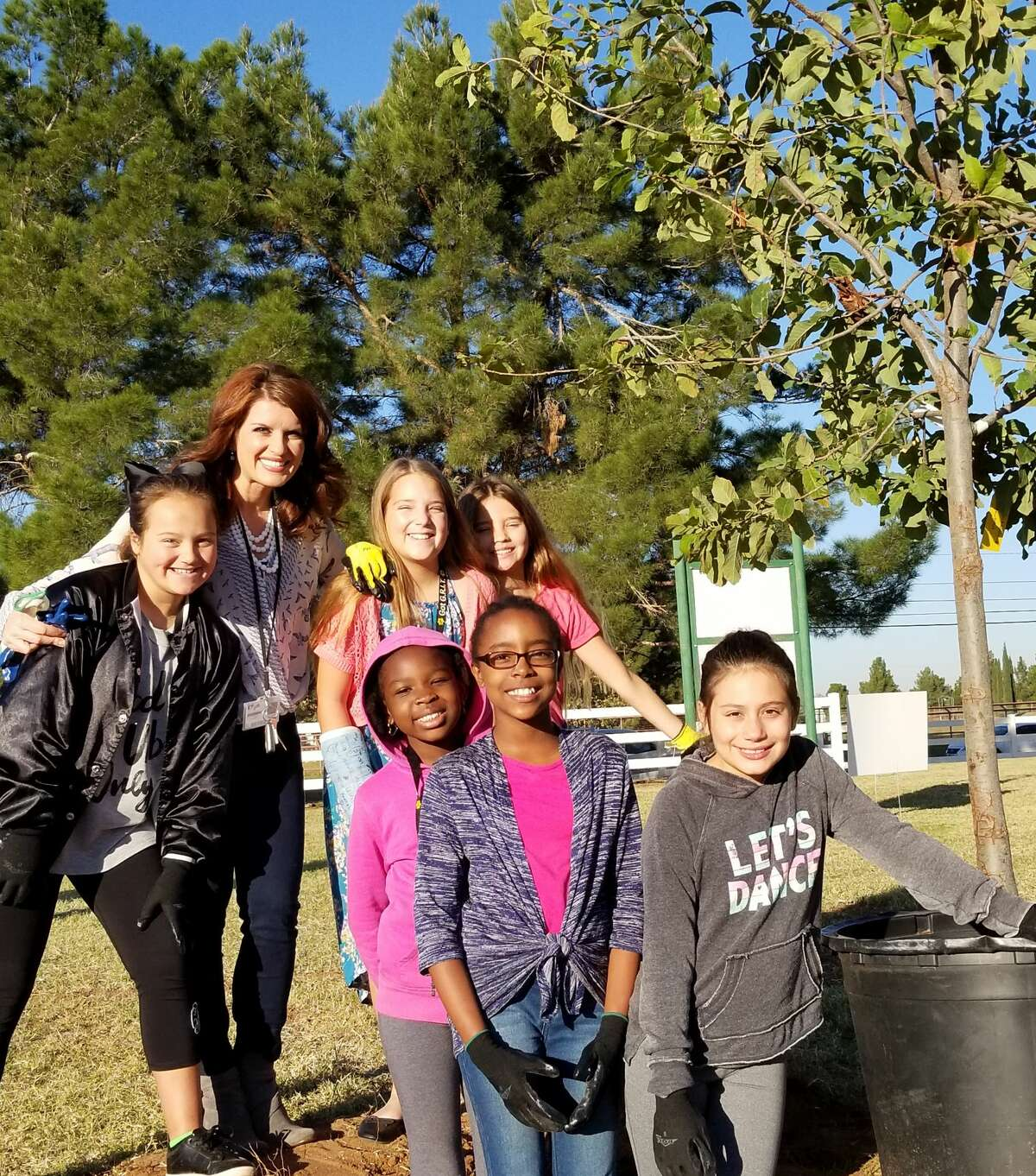 Breckyn Barnett, back row from left, Olivia Van Sickler, Midland ISD spokeswoman Lacy Sperry, Abigail Kunkel; and Michelle Coulibaly, front row from left, Leana Brissett, and Kaylynn Harding-Loya