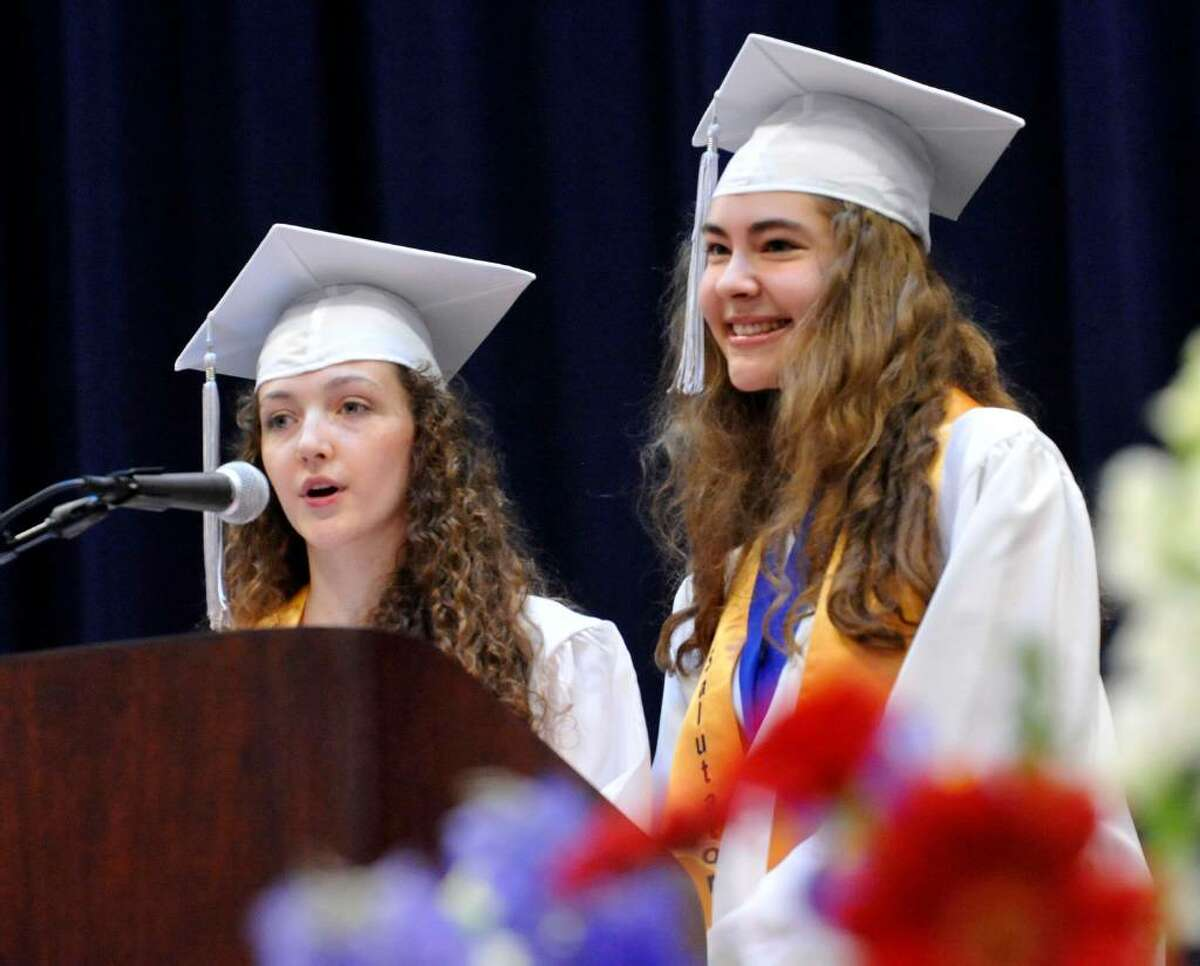 Valedictorian Ariel Ekblaw, left, and Salutatorian Renate Roehl address the class during New Fairfield High School commencement exercises at the William O'Neill Convocation Center in Danbury, on Saturday, June 26, 2010.