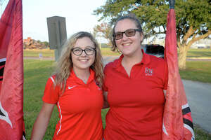 From left, Ashley Vickery and Kelly Radler at Lamar's Homecoming bonfire on Friday. Photo taken Friday, November 03, 2017 Guiseppe Barranco/The Enterprise