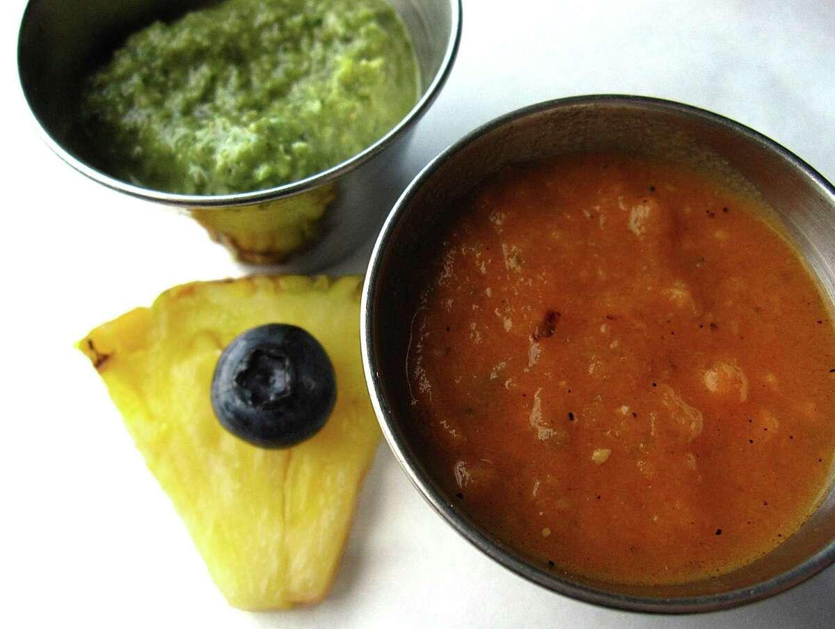 Red jalapeño salsa and jalapeño-pepita salsa from Sangria on the Burg.
