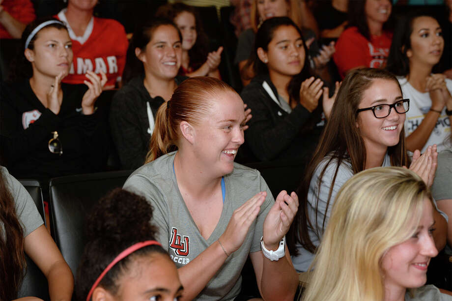 Lamar's Marie Lund, center, and her teammates cheer during a watch party for the selection show for the NCAA soccer tournament.    Photo taken Monday, November 06, 2017 Guiseppe Barranco/The Enterprise Photo: Guiseppe Barranco, Photo Editor / Guiseppe Barranco ©