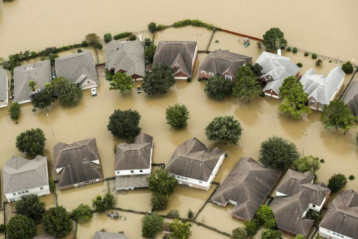 A flooded subdivision in the aftermath of Hurricane Harvey.