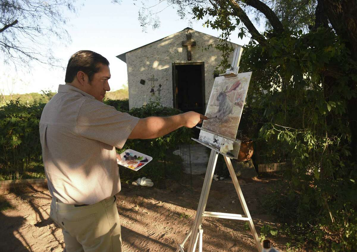 Antonio Rodriguez manages the thrift store for The Children?'s Shelter, but in his spare time he paints colorful abstracts of matadors and bullfighting scenes. He paints at his family's Southside ranch on Thursday, Oct. 19, 2017. He has shown in several galleries and in magazines.