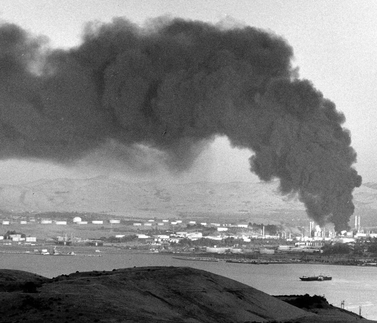Fire at the Shell Refinery as seen from Crocket, Calif. September 5, 1989
