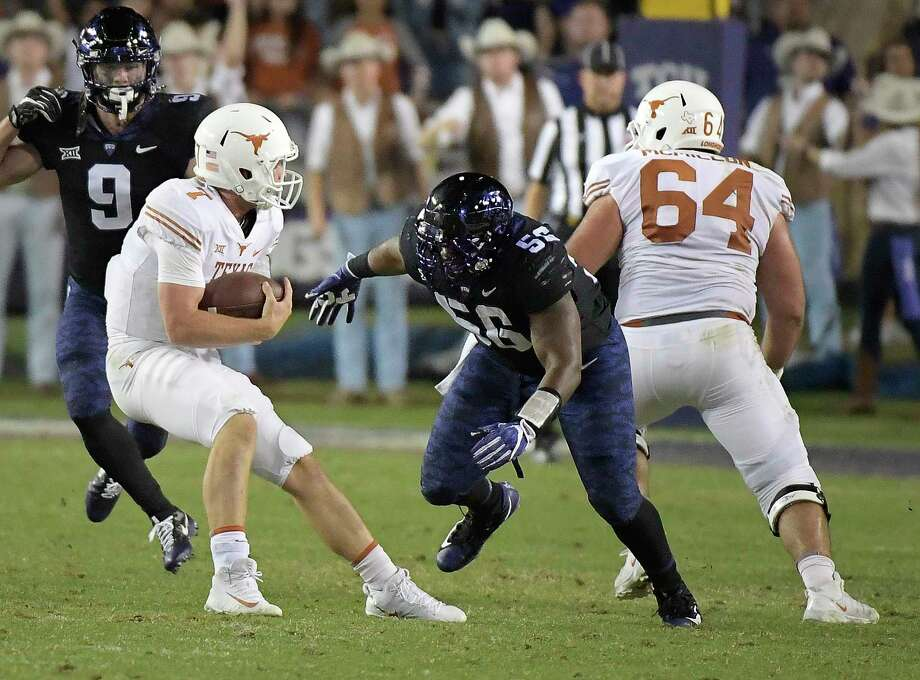 Another rough outing for Shane Buechele, left, and the Texas offense against TCU has patience wearing thin. But, Buechele likely will keep his job as Sam Ehlinger is suffering from an inner ear problem. Photo: Max Faulkner, MBR / Fort Worth Star-Telegram