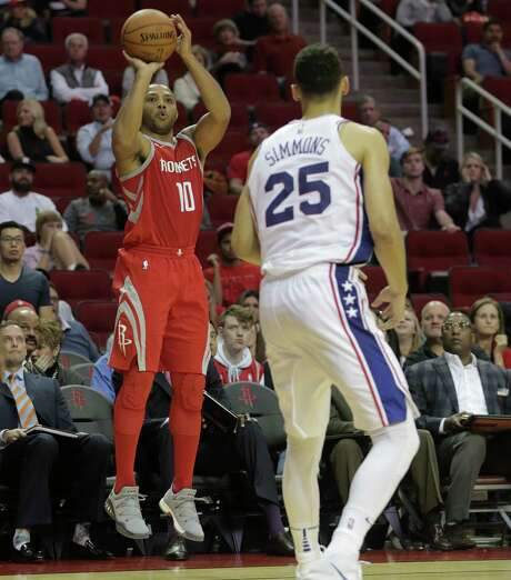 Guard Eric Gordon (10) has no doubts that the Cavaliers' record of 25 made 3-pointers in a game will fall to the Rockets in the near future. Photo: Elizabeth Conley, Houston Chronicle / © 2017 Houston Chronicle