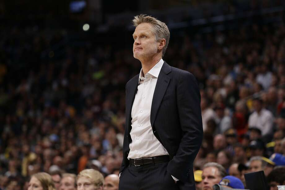 Golden State Warriors head coach Steve Kerr looks on against the Denver Nuggets during the first quarter of an NBA basketball game Saturday, Nov. 4, 2017, in Denver. (Photo by Jack Dempsey) Photo: Jack Dempsey, Associated Press