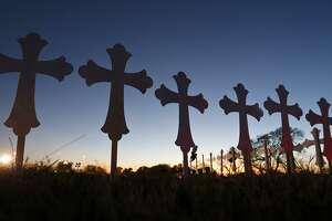 On Monday, 26 crosses — for those killed in the mass shooting at the First Baptist Church of Sutherland Springs — had been set up.