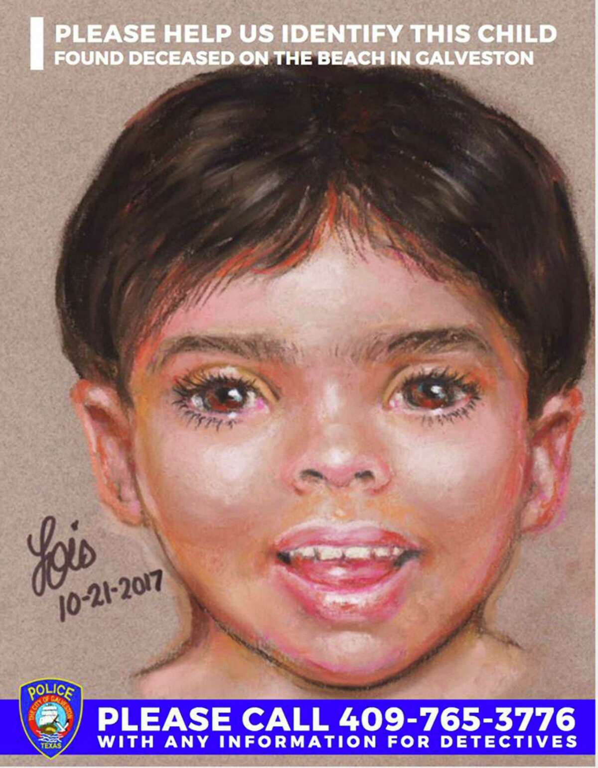 """New details are expected Tuesday in the death of """"Little Jacob,"""" the unidentified child whose body was found washed up on a Galveston beach in October.Investigators with the FBI and Galveston Police Department said they will provide autopsy results and new photos of the child, who was first spotted by a beach-goer along the water in the 700 block of Seawall on Oct. 20."""