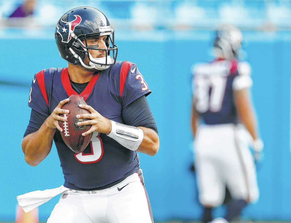 Houston Texans quarterback Tom Savage (3) warms up before the Texans pre-season football game against the Carolina Panthers at Bank of America Stadium on Wednesday, Aug. 9, 2017, in Charlotte. ( Brett Coomer / Houston Chronicle )