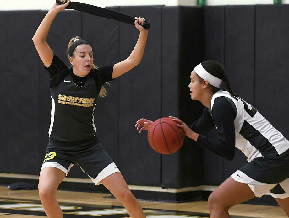Ashley Vanderwall, left, defends Karissa Birthwright in a drill during basketball practice at College of Saint Rose on Thursday, Nov. 2, 2017 in Albany, N.Y. (Lori Van Buren / Times Union) Photo: Lori Van Buren / 20042019A