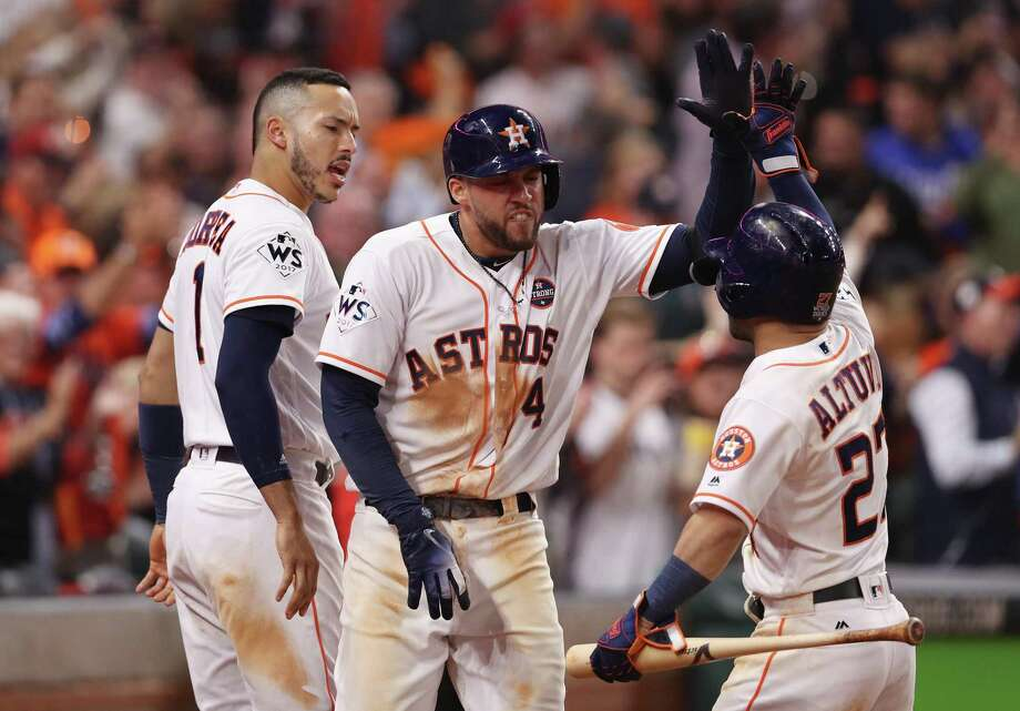 The Astros' young core of shortstop Carlos Correa, 23, outfielder George Springer, 28, and second baseman Jose Altuve, 27, give Houston the chance to win multiple championships in the coming years. Photo: Christian Petersen /Getty Images / 2017 Getty Images