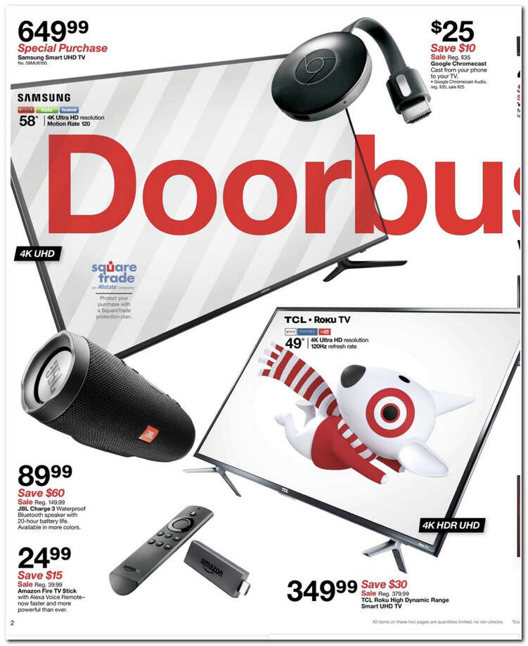 Target has released its 2017 Black Friday Doorbuster ad. Prices and promotion begin on Thursday, Nov. 23 at 6 p.m. and are subject to change and availability, based on the retailer's determination. Photo: Target