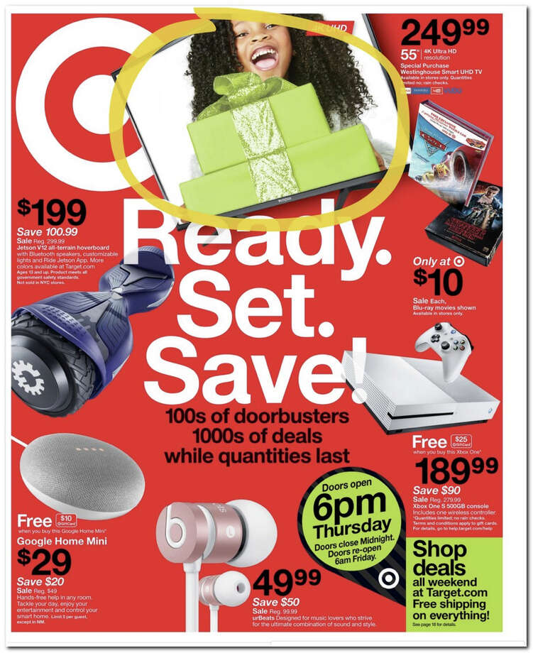Target has released its 2017 Black Friday Doorbuster ad. Prices and promotion begin on Thursday, Nov. 23 at 6 p.m. and are subject to change based on availability and the retailer's determination. Photo: Target