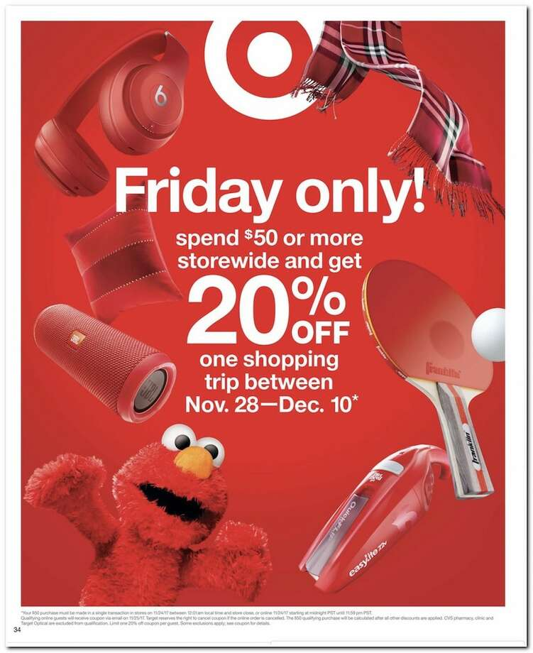 TargetIn-store hours: Thursday, Nov. 23 at 6 p.m. to midnight; then reopen at 6 a.m. Friday, Nov. 24.Online hours: Shop deals at Target.com all weekend (Nov. 24 - 26) with free shipping on items. More details here.See their Black Friday ad circular here. Photo: Target