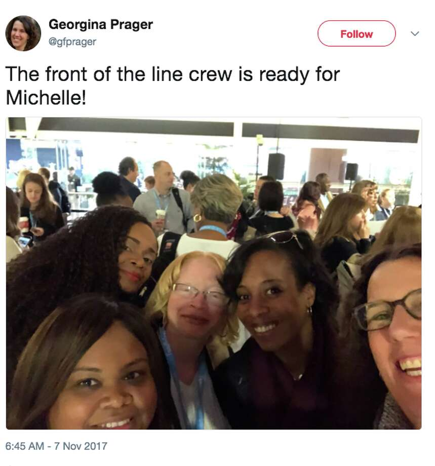 Dreamforce attendees line up to see former First Lady Michelle Obama speak on Nov. 7, 2017. Photo: Twitter Screen Grab