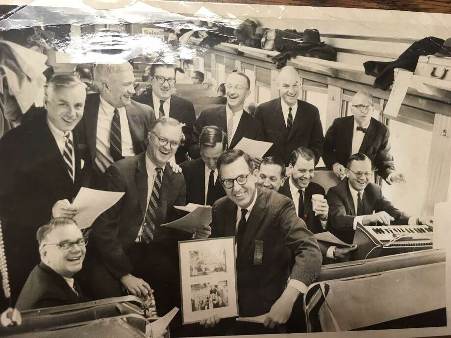 Members of the New Canaan Car received continental breakfast in the morning and alcohol during their ride home in the evening. In 1966, members paid $200 for initiation fees plus a monthly $100 surcharge and the price of the ticket. Photo: New Canaan Historical Society