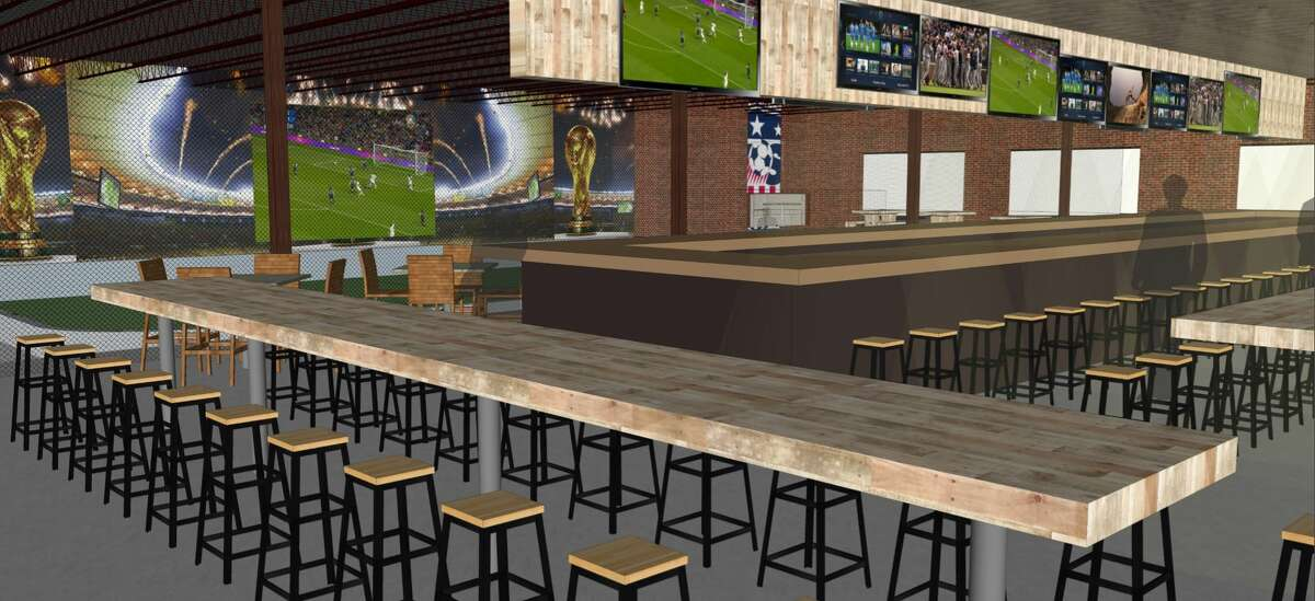 Architectural rendering for Pitch 25, the sports bar that former Houston Dynamo Brian Ching is launching in EaDo in spring 2018.
