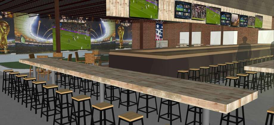 Architectural rendering for Pitch 25, the sports bar that former Houston Dynamo Brian Ching is launching in EaDo in spring 2018. Photo: Pitch 25