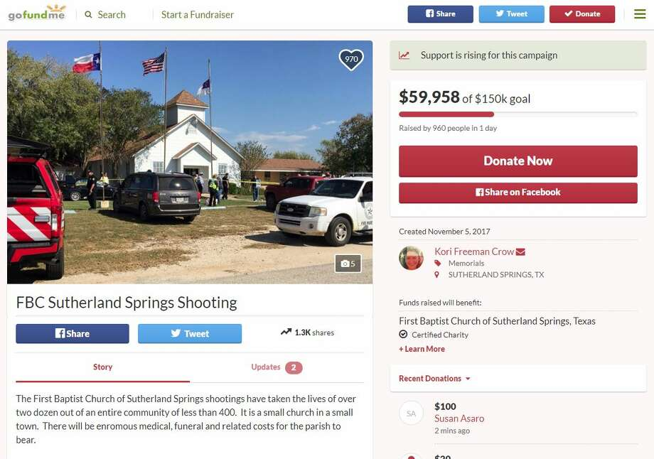 Click ahead to a list of fundraisers set up for the victims of the Sutherland Springs shooting.1. GoFundMe donations are to be directed immediately to the parish. The fundraiser page was set up almost immediately after the shooting and by Monday evening, more than $23,000 had been raised toward a goal of $50,000. Photo: Go Fund Me