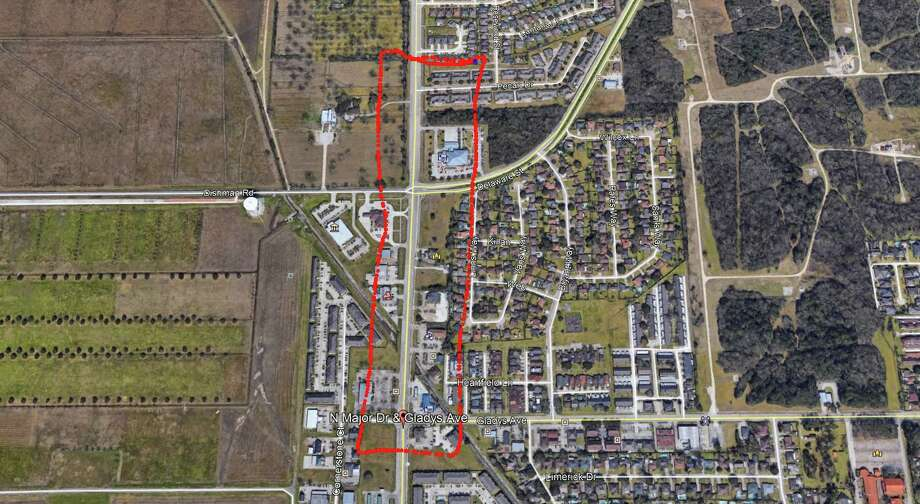 The area outlined in red is affected by a punctured main water line near Gladys Ave and North Major Drive. Photo: City of Beaumont.