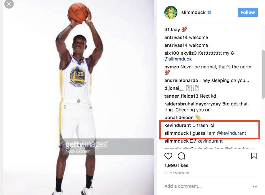 Kevin Durant has been mercilessly trolling Warriors rookie Chris Boucher on Instagram. Photo: Chris Boucher Via Instagram