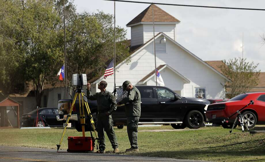 Law enforcement officials continue to investigate the scene of a shooting at the First Baptist Church of Sutherland Springs, Tuesday, Nov. 7, 2017, in Sutherland Springs, Texas. A man opened fire inside the church in the small South Texas community on Sunday, killing more than two dozen and injuring others. (AP Photo/Eric Gay) Photo: Eric Gay, Associated Press