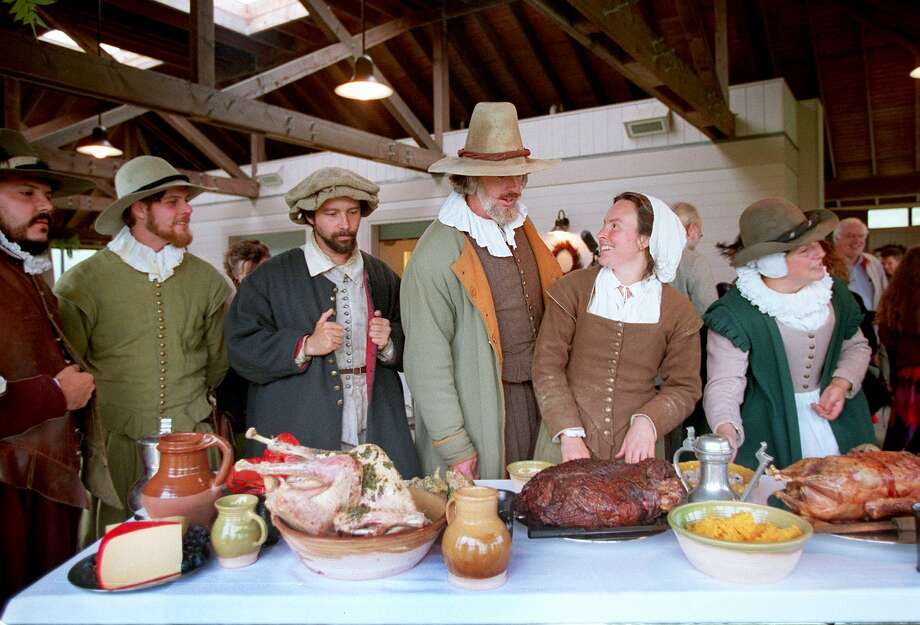 reenact the First Thanksgiving at Plimoth Plantation in Plymouth, Massachusetts. See more images from the reenactment and what was life at the first Thanksgiving up ahead.  Photo: Boston Globe/Boston Globe Via Getty Images