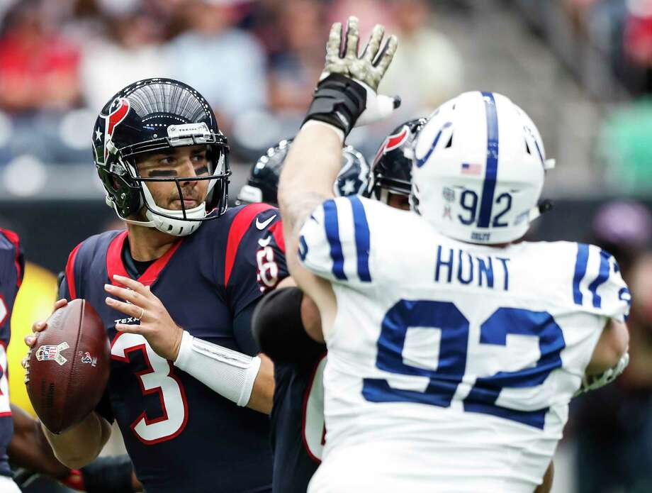 Houston Texans quarterback Tom Savage (3) drops back to pass with Indianapolis Colts defensive end Margus Hunt (92) putting on pressure during the first quarter of an NFL football game at NRG Stadium on Sunday, Nov. 5, 2017, in Houston. ( Brett Coomer / Houston Chronicle ) Photo: Brett Coomer, Staff / © 2017 Houston Chronicle
