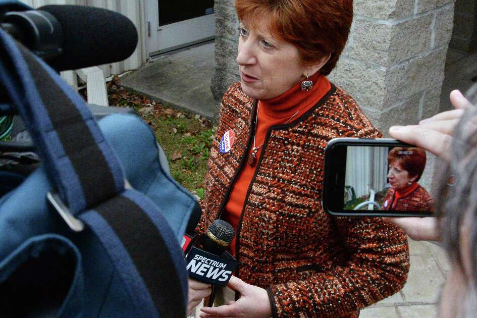 Mayor Kathy Sheehan speaks with reporters after casting her ballot at B'Nai Shalom Tuesday Nov. 7, 2017 in Albany, NY.  (John Carl D'Annibale / Times Union)