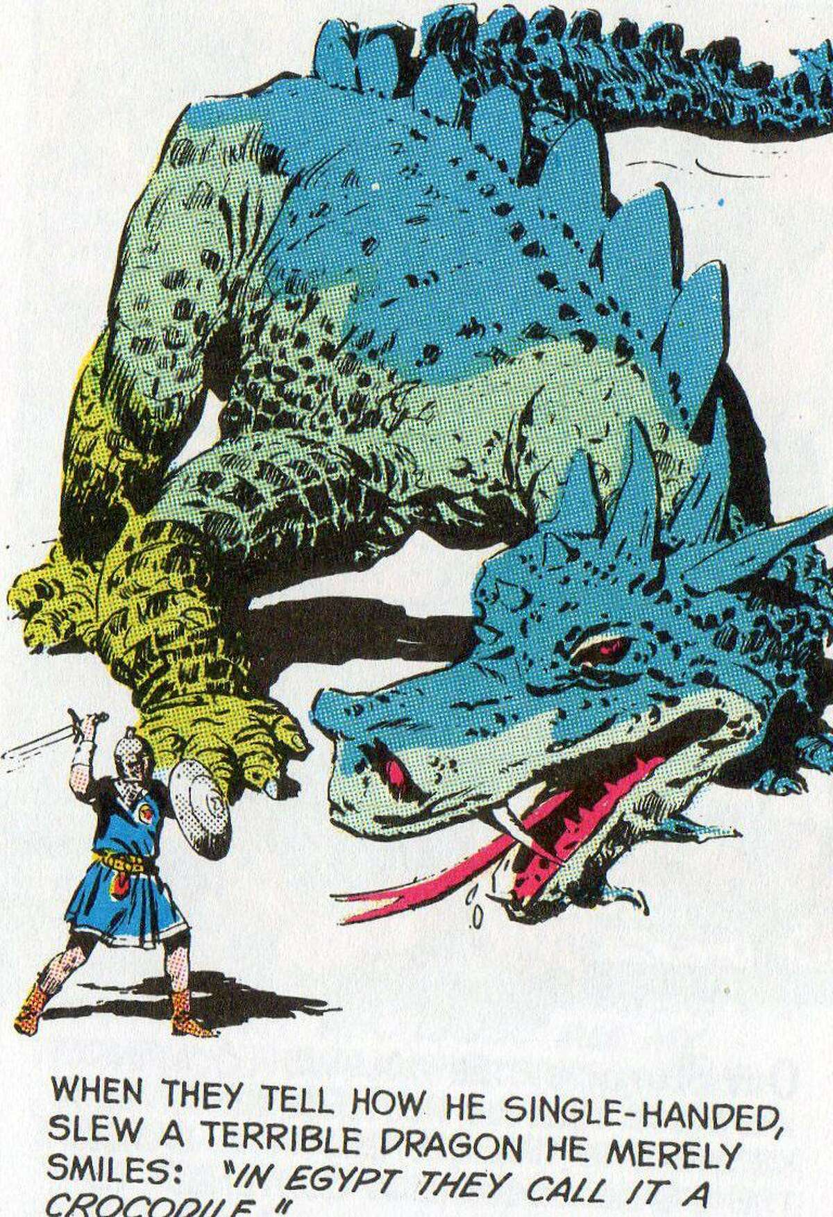 Valiant faces the dragon, as depicted by John Cullen Murphy.