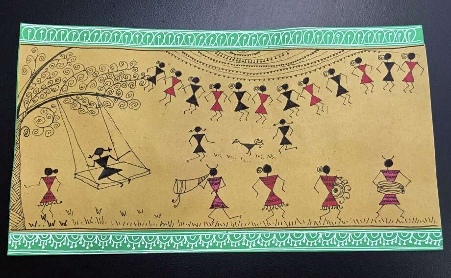 Prachi Khade-Gurjar, of Stamford, has been creating works in the ancient Indian art tradition of Warli. Photo: Christina Hennessy / Hearst Connecticut Media / Connecticut Post