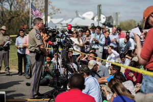 Surrounded by national and international press, Texas Department of Public Safety Regional Director Freeman Martin speaks near the First Baptist Church of Sutherland Springs, Tuesday, Nov. 7, 2017, where 26 people were killed Sunday in Sutherland Springs.