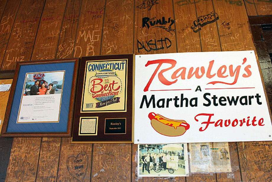 Rawley's Drive-In in Fairfield is famously carved up on its walls and furniture. Photo: File Photo