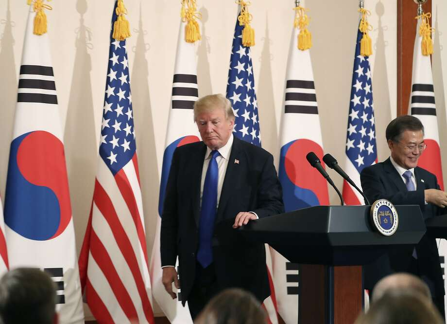 President Trump leaves a joint news conference with South Korean President Moon Jae-in, in Seoul. Photo: Andrew Harnik, Associated Press