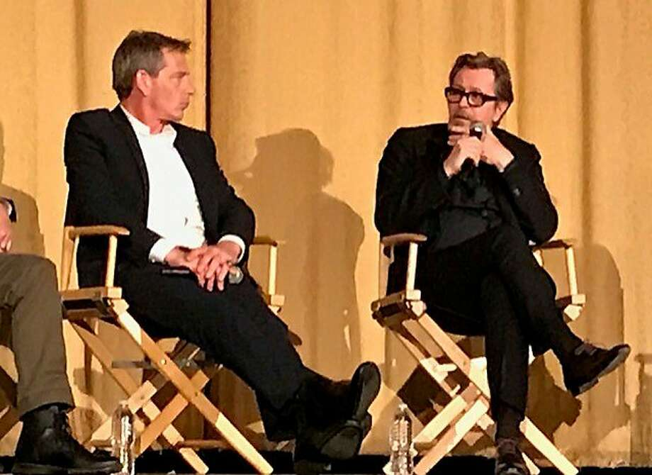 """""""Darkest Hour"""" actors Ben Mendelsohn and Gary Oldman onstage at the Castro Theatre. Photo: Leah Garchik, San Francisco Chronicle"""
