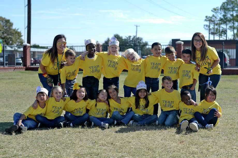 Amanda Guebara's kindergarten class honored their classmate Lilly Orosco (first row, fourth from left) on Oct. 31, 2017, for Down Syndrome Awareness Month at St. Anne's School. James Durbin/Reporter-Telegram Photo: James Durbin