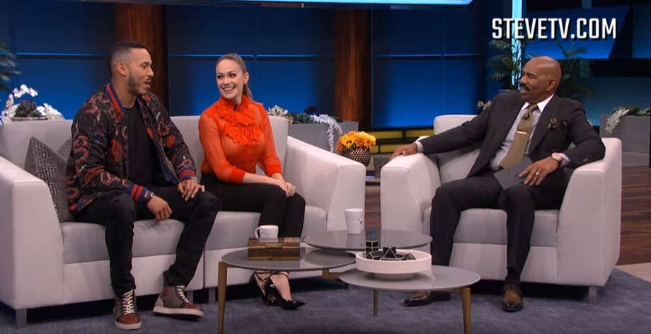 The Houston Astros' Carlos Correa and his fiancee Daniella Rodriguez went on Steve Harvey's show Tuesday to discuss Correa's on-field proposal after Game 7 of the World Series. Photo: SteveTV.com