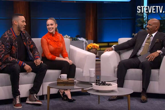 The Houston Astros' Carlos Correa and his fiancee Daniella Rodriguez went on Steve Harvey's show Tuesday to discuss Correa's on-field proposal after Game 7 of the World Series.
