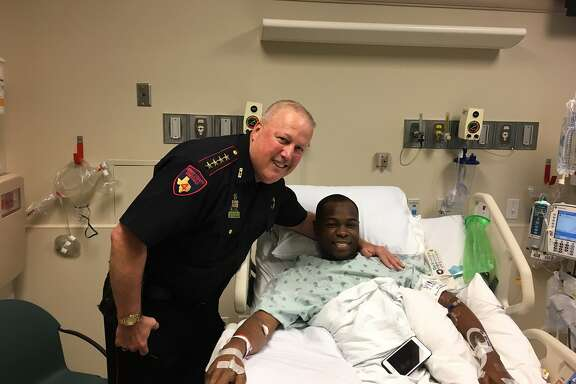Harris County Pct. 4 Constable Mark Herman visited with Deputy Justin Gay, who was shot Sunday, on Tuesday morning.