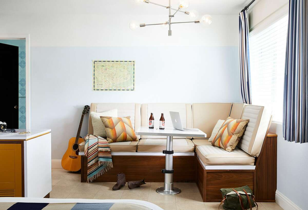 Rooms at the Calistoga Motor Lodge and Spa feature camper style seating.