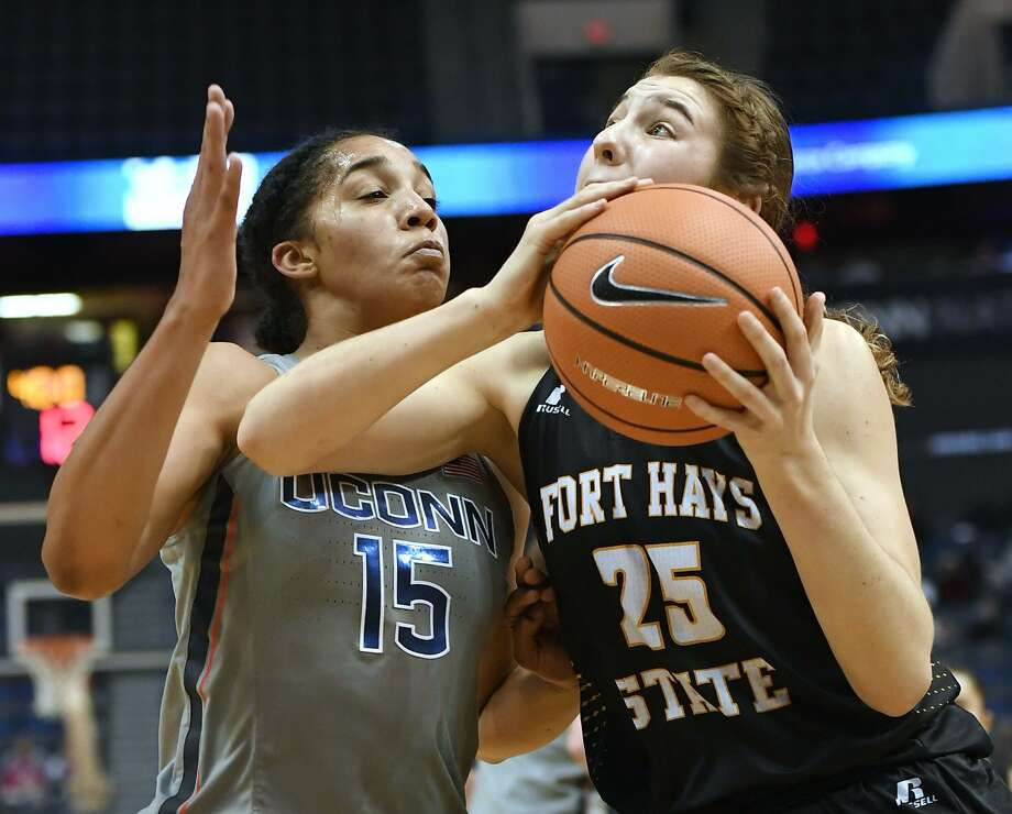 UConn's Gabby Williams (15) guards Fort Hays State's Belle Barbieri (25) during the first half of an NCAA women's college exhibition basketball game, Wednesday, Nov. 1, 2017, in Hartford, Conn. (AP Photo/Jessica Hill) Photo: Jessica Hill / Associated Press / AP2017